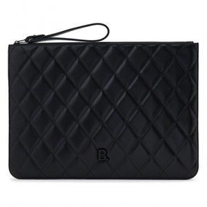New Balenciaga Black Quilted Leather Wristlet